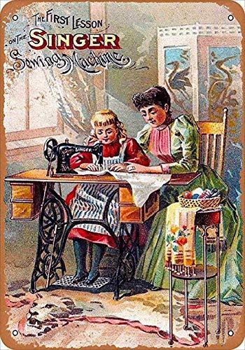 Vintage Máquina de coser Vintage Cartel de hojalata, Personalizado, Pintura decorativa, Pintura de estaño, Colorfast, Placa de metal, Regalo, Decoración de pared, Arte, Hecho Antiguo