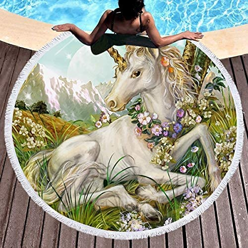 New popularity Pooizsdzzz Unicorn Beach Towel for Girls Kids Round Limited time trial price Thick
