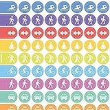 immi Wochenplaner-Sticker 288 St. Organizer-Aufkleber 9mm, Sport u. Transport