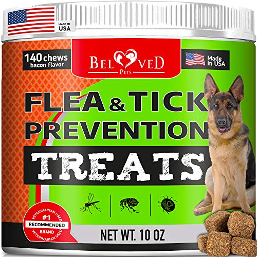 Beloved Pets Flea and Tick Control Treats for Dogs - Flea Prevention Soft Chews - Natural Tick Repellent Supplement - Made in USA - 140 Ct (Bacon)