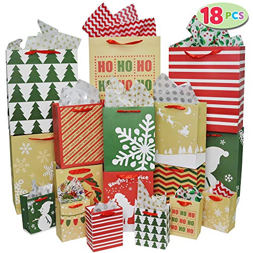 18 Pack Christmas Premium Holiday Gift Bags Assorted Creamy Kraft Style Prints for Xmas Goody Gift Bags, School Classrooms Party Favors Decoration, Holiday Present Wrap Décor.