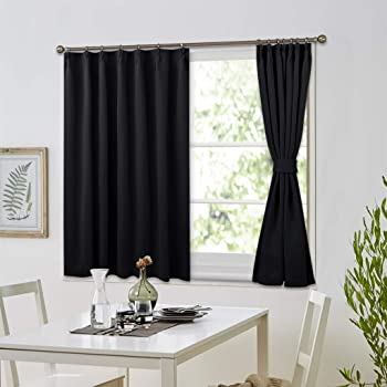 NICETOWN 遮光カーテン強力 遮光 遮像 80cm カーテン ブラック 2枚組 カフェカーテン 2枚セット ブラック 省エネ UVカット 幅100cm丈80cm