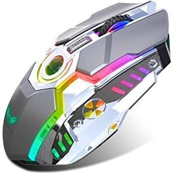 Rechargeable 2.4G Wireless Gaming Mice with USB Receiver and RGB Colors Backlit for Laptop,Computer PC and MacBook (600 Mah Lithium Battery) (Gray)
