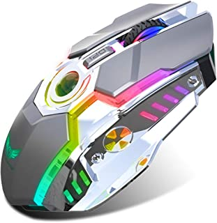 Rechargeable 2.4G Wireless Gaming Mice with USB Receiver and RGB Colors Backlit for Laptop,Computer PC and MacBook (600 Mah Lithium Battery)- Gray