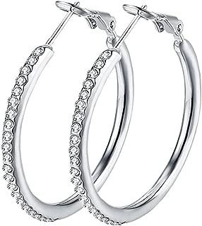 Hoop Earrings Hypoallergenic, White Gold Plated Stainless Steel Women Hoop Earrings Cubic Zirconia Rhinestone Earrings 1.38in