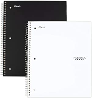 Five Star Spiral Notebooks, 3 Subject, College Ruled Paper, 150 Sheets, 11 x 8-1/2 inches, Black, White, 2 Pack (73015)