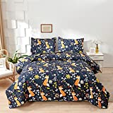 Cartoon Bedspreads Full/Queen Size,3 Pcs Forest Animal Orange Blue Quilts Set Cute Kids Fox Bedding Lightweight Reversible Coverlets with Pillowshams