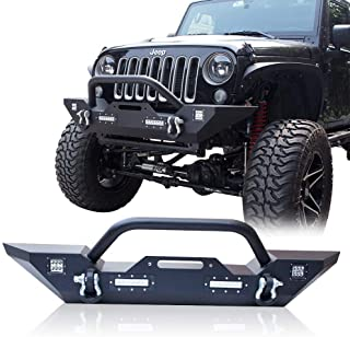BESKE Front Bumper for 2007-2017 Jeep Wrangler JK Bumper with LED Lights w/Winch Plate and D-rings