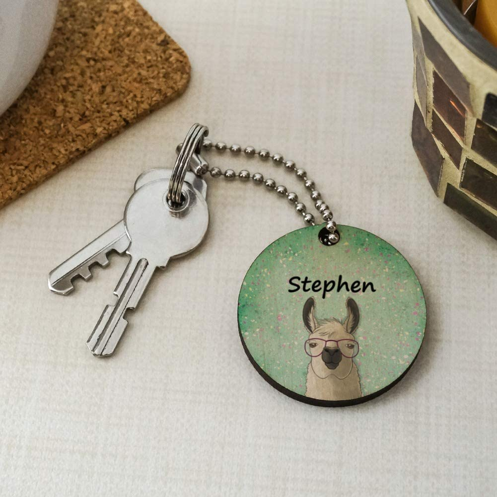 Personalized Custom Hip Llama with Glasses 1 Line Wood Wooden Round Keychain Key Chain Ring