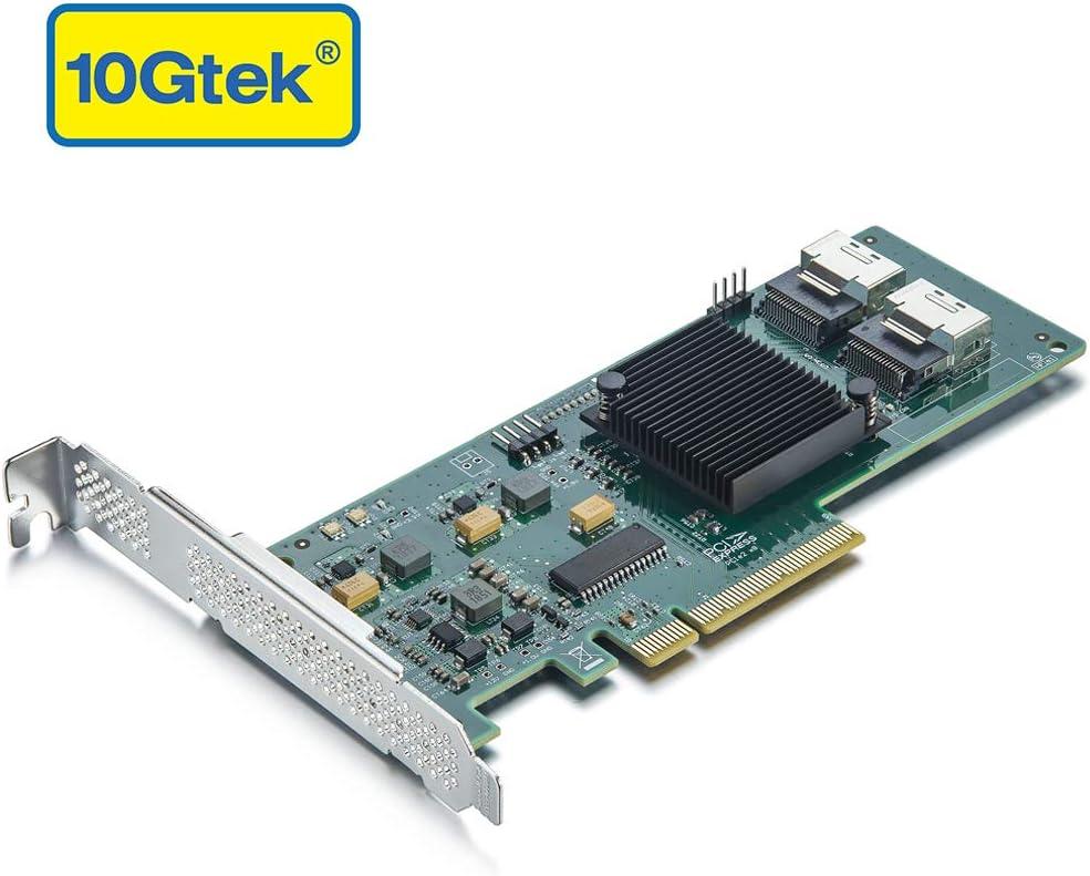 10Gtek Internal PCI Express SAS//SATA HBA RAID Controller Card SAS2008 Chip Same as SAS 9211-8I 8-Port 6Gb//s