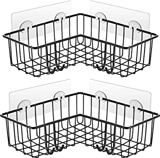Carwiner Corner Shower Caddy 2-Pack, Wall Mounted Bathroom Shelf, 304 Stainless Steel Wide Space Shower Shelf with Adhesiv...