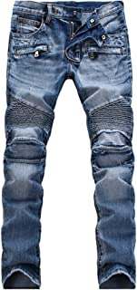 Men's Slim Fit Vintage Distressed Motorcycle Jeans Runway Biker Denim Jeans