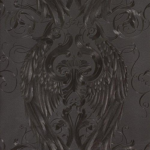 MT 52578 Marburg Harald Glööckler Vliestapete Schwarz/Grau Flügel Krone Ornamente, 10,05 x 0,70 m