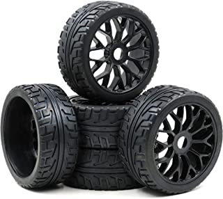 hobbysoul 5pcs RC 1/8 On Road Tires w/ Hex 17mm Wheels Rims for 1:8 RC On-Road Buggy Car