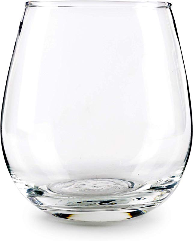 Circleware 44581 Stemless Wine Glasses 4 Piece Drinking Glassware Set Fun Party Entertainment Dining Beverage Cups For Water Juice Beer Liquor Whiskey Best Home Bar Decor Gifts 15 Oz