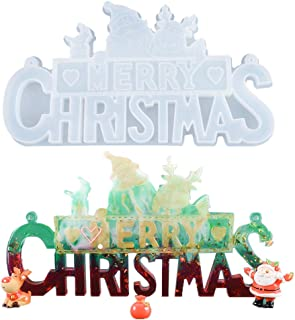 Merry Christmas Sign Doorplate Resin Silicone Casting Mold Epoxy Mould Craft Tool for Making Xmas Tree Ornament DIY Craft ...