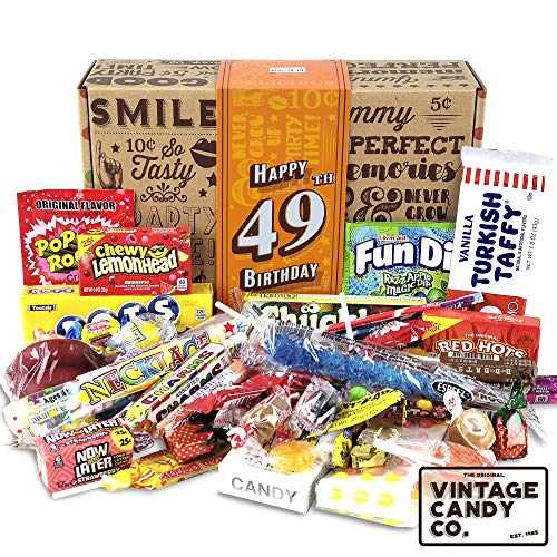 VINTAGE CANDY CO. 49TH BIRTHDAY RETRO CANDY GIFT BOX - 1971 Decade Childhood Nostalgic Candies - Fun Funny Gag Gift Basket - FORTY NINTH Birthday - PERFECT For Man Or Woman Turning 49 Years Old