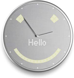Glance Clock Smart Notification Wall Clock for Calendar Events, Timers, Weather, and IFTTT Alerts (Android, iOS Smartphones) - Silver