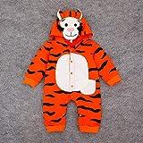 QMGLBG Baby Herbst Kleidung Overall Baby Strampler Tier Tiger Kostüm Neugeborenes Baby Junge Kleidung Kapuzenanzug Neugeborene Kleidung Outfits