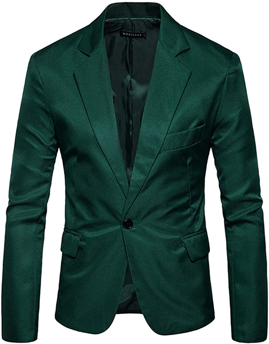 Men's Slim Fit Blazer Jacket One Button Solid Suit Separate for Dinner Party Wedding