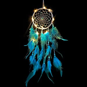 Dream Catchers for Girl Women with LED Lights for Bedroom Home Wall Hanging Decoration Handmade Feather Circle Net Gift Decor Nursery Art Ornament Craft Native American (Blue+Light)