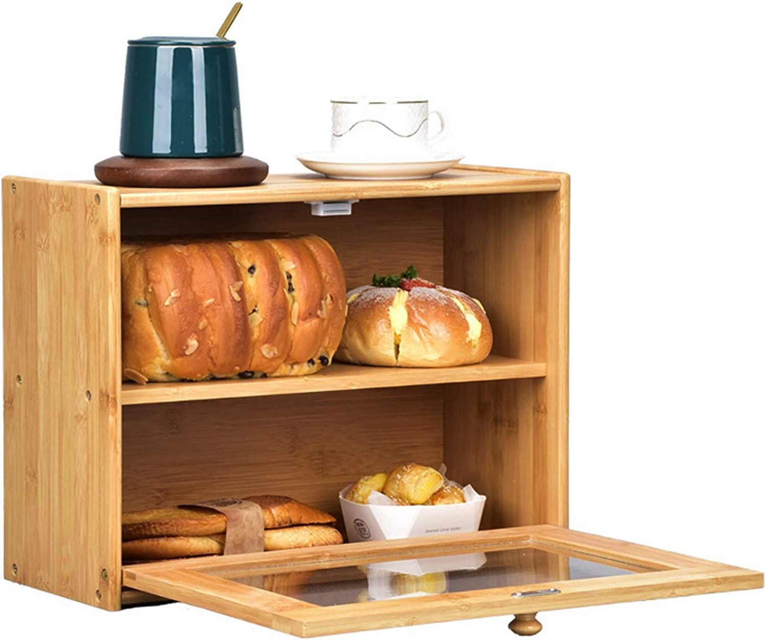 Lawei 2 Layer Bamboo Bread Box Large - Clear Wind with High order Complete Free Shipping