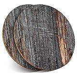 Posavasos de vinilo Destination ltd Great Posavasos (juego de 2) redondos, color gris ceniza, efecto madera, brillante, para cualquier tipo de mesa #44155