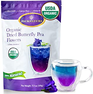 BIG PACK Organic Butterfly Pea Flower Tea 3.5Oz, Ideal for 500 cups or more, Premium Dried Flowers for Drinks and Food Col...