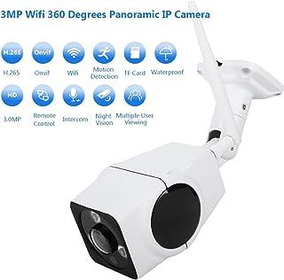 Impermeable Cámara IP Wifi 3MP 360 grados de Ojo de Pez Panorámico IP67 Electrónica PTZ Detección de Movimiento Intercomunicador Bidireccional P2P Cámara de Vigilancia con IR-Cut para Exterior