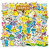 160 Pcs Pokemon_Stickers Cute Anime Pikachu Stickers Gift for Kids Teen Birthday Party Cool Waterproof Vinyl Decal for Water Bottle Luggage Phone Guitar Computer Bike Skateboard