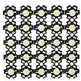 Riuty 25 UNIDS Chip LED, Alta Potencia Led Chip - 3W Fuente de Luz de Chip Integrada de Alto Rendimiento de Grano Foco LED Foco para Bombilla Lámpara Granos Iluminación DIY(4000-4500K)