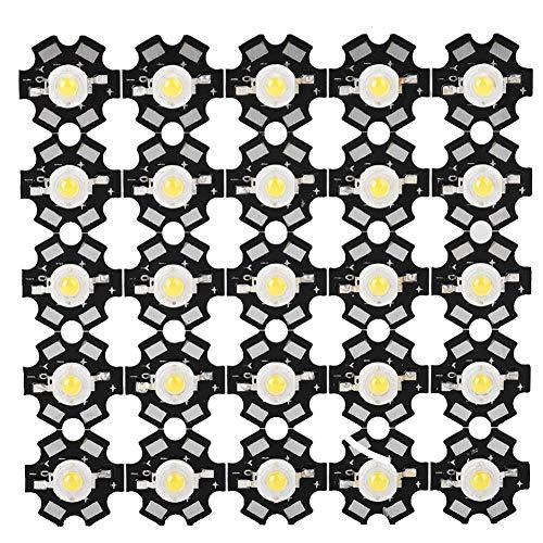 Riuty 25 UNIDS Chip LED, Alta Potencia Led Chip - 3W Fuente de Luz de Chip Integrada de Alto Rendimiento de Grano Foco LED Foco para Bombilla Lámpara Granos Iluminación DIY(6000-6500K)