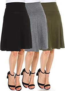 Isaac Liev Women's 3-Pack High Waist Fold Over A-Line Flowy Midi Skirts - Made in The USA