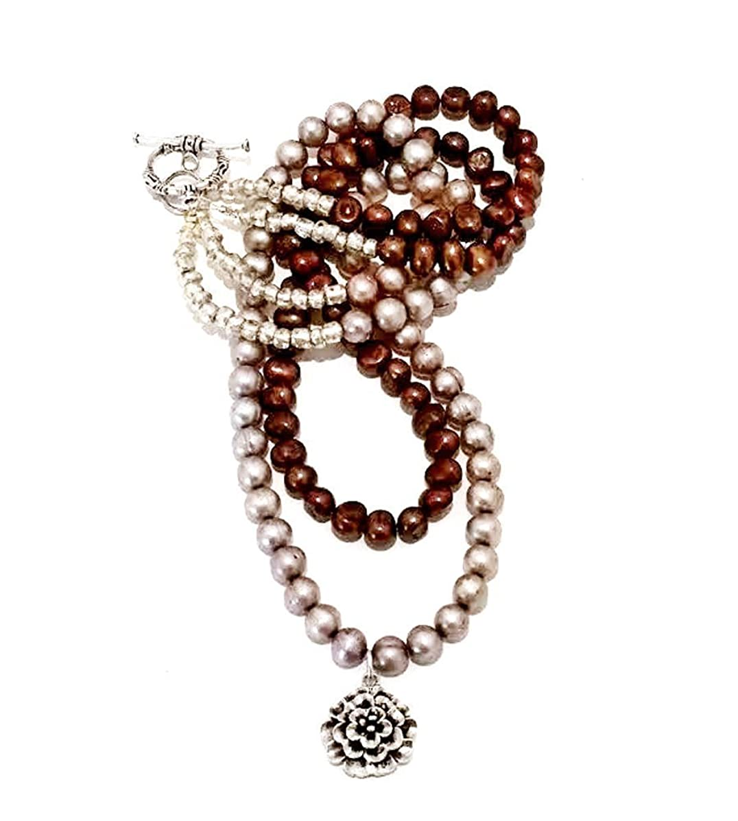 Freshwater Cultured Pearl Beads Double Strand Layer Necklace with 925 Sterling Silver Flower Pendant