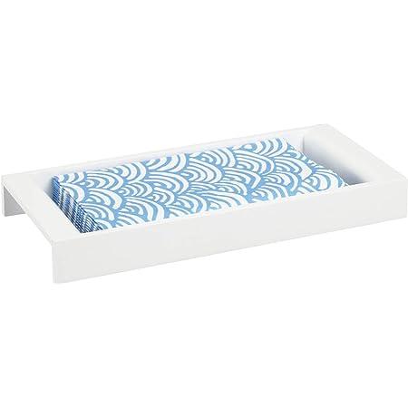 mDesign Organizador de ba/ño Bandeja de metal moderna etc Bandeja decorativa para toallitas cosm/éticas toallas de invitados color lat/ón