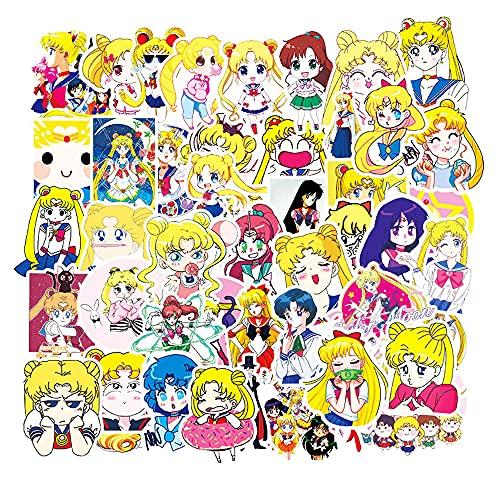 HYKCSS Sailor Moon Anime Pegatina Decoración Notebook Ordenador Hervidor De Agua Maleta Monopatín Coche Bicicleta Guitarra Vinilo Pegatinas Personalizadas Impermeables para Adultos Y Adolescen