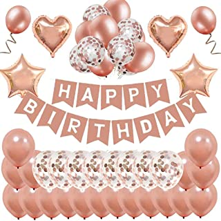 MMTX Anniversaire Ballon Rose Kit Guirlande Happy Birthday Ballon, 12 Ballons Confettis Rose Or, 22 Latex Ballon Rose Or, ...