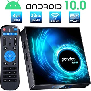Pendoo Android 10.0 TV Box, T95 Android TV Box 4GB RAM 32GB ROM Allwinner H616 Quad-Core 64bit, Soporte 2.4GHz WiFi 6K / 4K Ultra HD / 3D / H.265 Android Box
