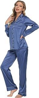Mnemo Women's Satin Pyjamas Sets Long Sleepwear Premium Satin Silk Button Down Nightwear