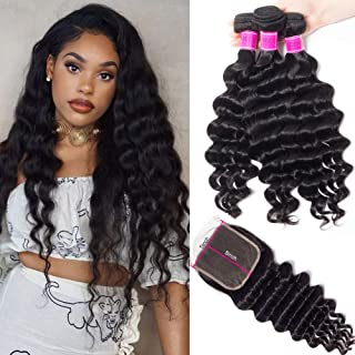 RECOOL Hair 10A 5X5 inch Lace Closure with Bundles Brazilian Hair Loose Deep Wave Bundles with Closure 100% Virgin Human Hair Extensions for Black Women (16 18 20 with 14 inch 5x5 Closure)