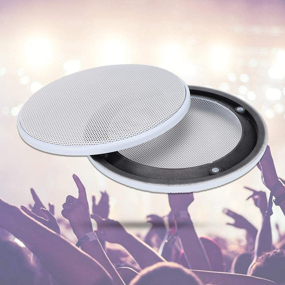 White+White Oumefar ABS Speaker Decoration 4inch Cold Rolled Steel 2PCS Mesh Circle Protective Mesh Cover Generous for Speaker