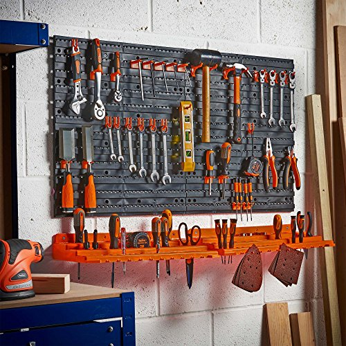 VonHaus 50 Piece Wall Mounted Plastic Pegboard and Shelf Tool Organizer - DIY Garage Storage Wall Mount System with Rack and 50 Assorted Hook Accessories - Tool, Parts and Craft Organizer