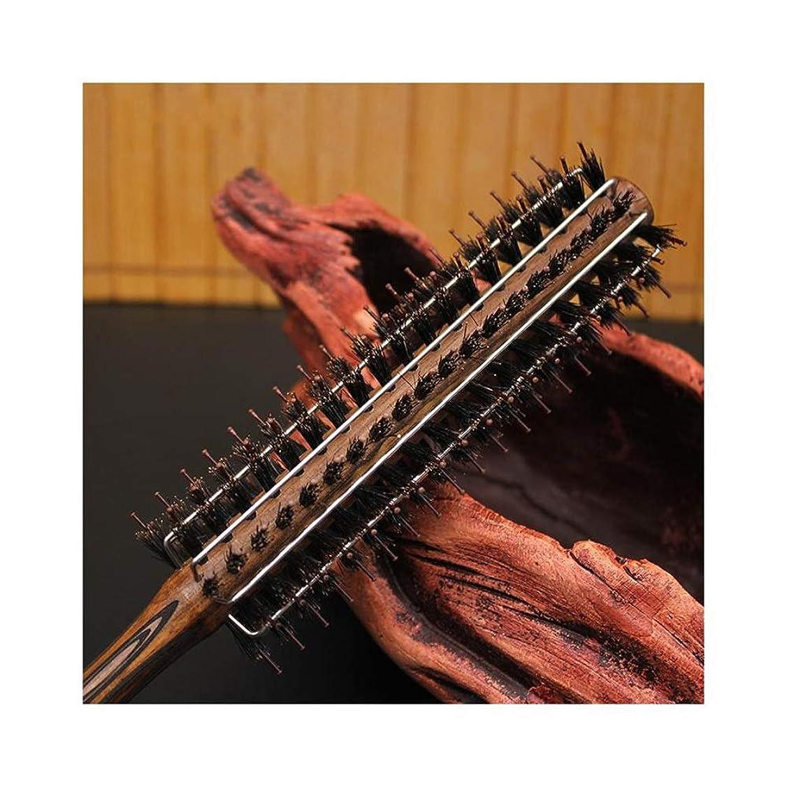 入り口服登るHazbune 女性のためのカーリング毛の櫛ワイヤー豚剛毛のナイロン木製の圧延ブラシ (サイズ : M)