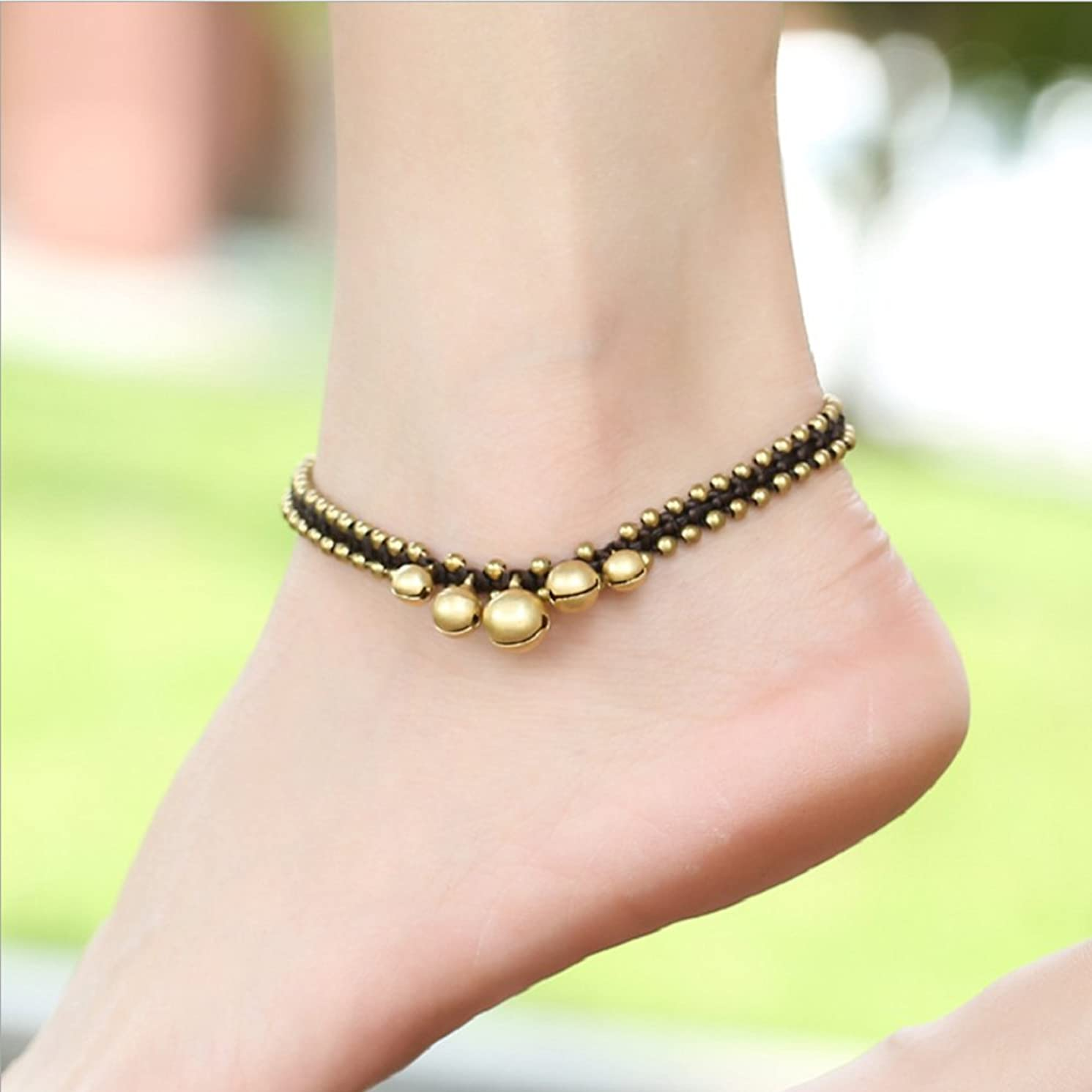Auch Pure Handmade Bohimian Beach Foot Chain, Retro Copper Beaded Anklets with Bronze Bell