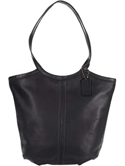 COACH Soft Leather Tote,B4/Black