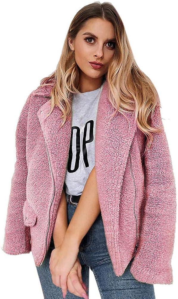 ManxiVoo Women's Coat Casual Lapel Faux Fur Zipper Warm Winter Oversized Outwear Jackets