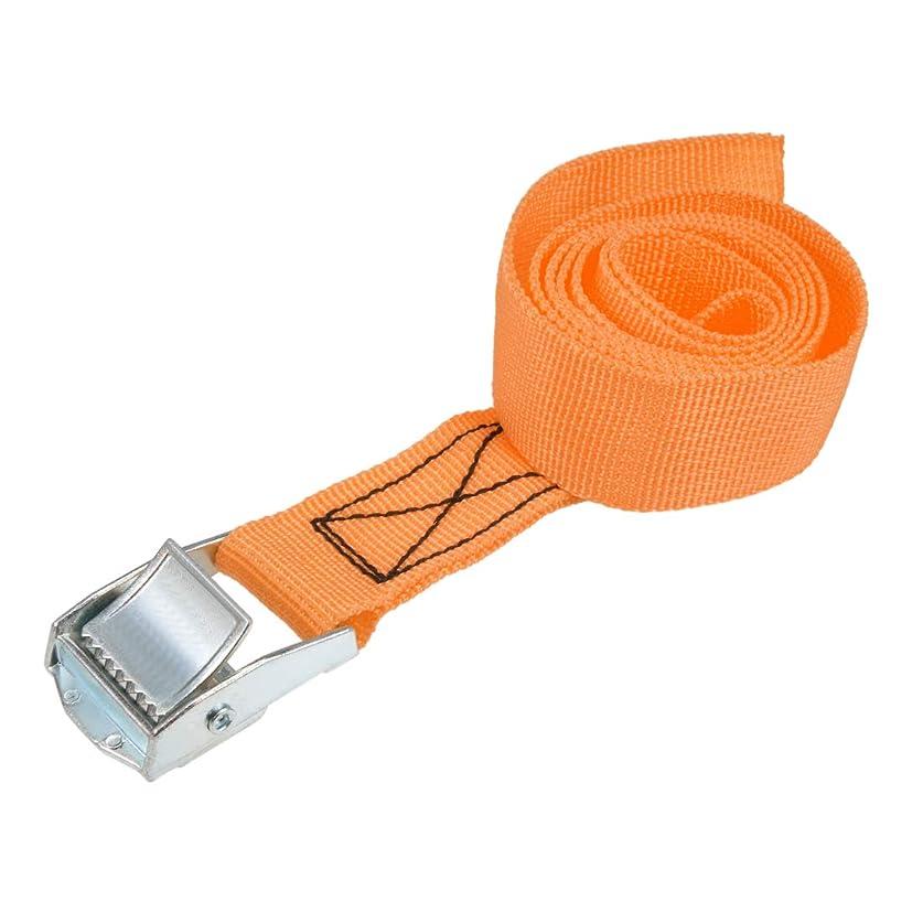 ナサニエル区骨スーパーuxcell 荷物ストラップ ラチェット式 ベルト 荷物固定ロープ 荷物落下防止 カムバックル付き ロード250Kg 1Mx25mm オレンジ