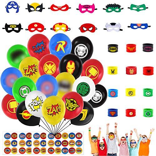 132 Pcs Superhero Party Set, Face Shield Superhero Slap Bracelet Latex Balloons and Superhero Stickers, Superhero Party Bags Fillers for Boys Adults Birthday, Superhero for Kids Party Favors Toys
