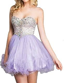Women's Strapless Rhinestone Sweet 16 Homecoming Prom Short Tulle Dress