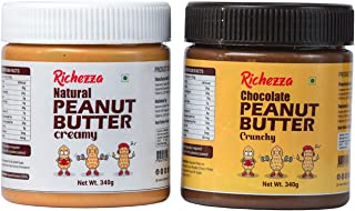 Richezza Natural Creamy + Chocolate Cruncy Combo Peanut Butter (340g + 340g) | 30% Protein | Vegan | Roasted Peanuts
